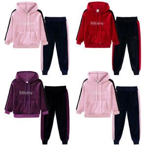 2PCS UK Toddler Kids Baby Girl Tracksuit Hoodie Sweat Shirt Tops + Pants Outfits