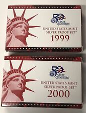 1999 & 2000 United States Mint Silver Proof Sets in OGP with COA's