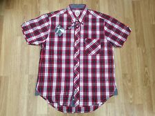 MENS LAMBRETTA SHORT SLEEVE BUTTON DOWN COLLAR SHIRT  LMS 7974 RED SIZE M