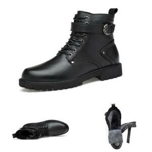 Mens Pumps Fur Inside Warm Outdoor Motorcycle High Top Biker Ankle Boots Shoes L