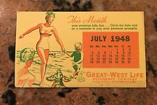 1948 Great West Life Beach Scene Blotter NOS
