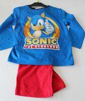 Pyjama Set Schlafanzug Jungen Mädchen Sega Sonic blau rot Gr. 98 104 116 128 #33