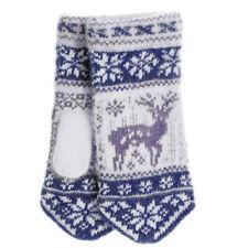 Women's Knit Wool Blend Mittens with Deer Pattern, Blue (US 7 / RU18)