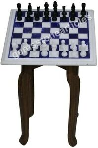 "15""x15"" Marble White Chess Top Coffee Table Inlay Mosaic Art Black Friday Gift"