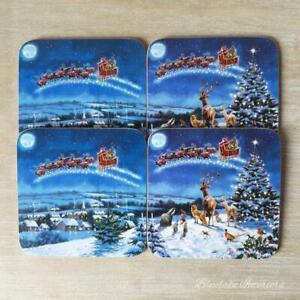 Set of 4 The Magic Of Christmas Coasters Santa & Sleigh Over Houses Design