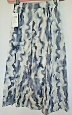Mexx A-Line Midi Skirt UK 10 White & Blue Mottled Pattern Cotton Lined Zip Flair