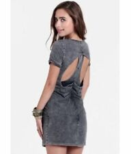 STYLESTALKER Arcade Dress 100% Cotton Color Grey Distressed Denim Size XS 8 BNWT