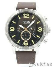 New Fossil Nate Chronograph Brown Leather Big Size Men Watch 50mm JR1475 $125
