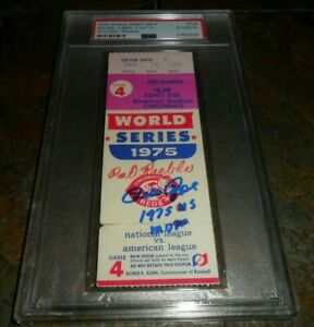 1975 WORLD SERIES REDS & RED SOX GAME 4 PETE ROSE MVP SIGNED TICKET STUB PSA/DNA