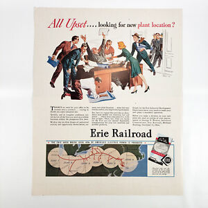 1946 Erie Railroad Ad Industry Plant Locations Railway Service Industrial Zones