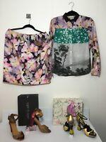 =CHIC= DRIES VAN NOTEN Pink Cherry Blossom Flower Floral Print Silk Skirt US10