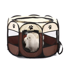 8Panels Pet Play Pen Dog Cat Puppy Fabric Foldable Playpen Mesh Cage Enclosure S
