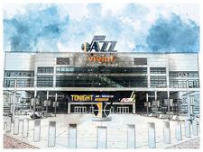 "Utah Jazz Poster Architectural Design Art Print Man Cave Decor 12x16"""