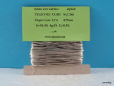 5m  0.75mm lead free solder wire  3% silver TELECORE XL-825 SAC305 ALPHA UK