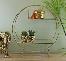 Gold Metal Freestanding Shelving Unit Mirrored Shelves Display Decor Storage
