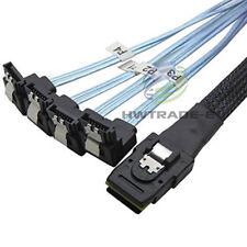 Mini SAS SFF-8087 36-PIN to 4 SATA 7-PIN HD Splitter 90 Degrees Cable 1M  Blue