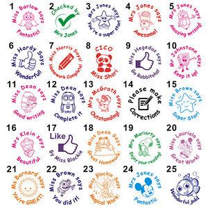 Peronalised Teacher Merit Homework Feedback Custom Name Self-inking School Stamp