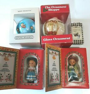 Alpine Boy Girl Lamp Topper Hallmark 1980 Lot of Vintage Christmas Ornaments HH