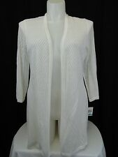 Charter Club Plus Size Pointelle Open Front Knit Cardigan 0X Bright White #4310