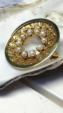 Biedermeier Brosche 585 Gold mit Perlen Goldschmuck Schmuck