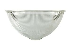 """Large 14.75"""" Ribbed Industrial Glass Ceiling Fixture Dome 1.75"""" Fitter"""