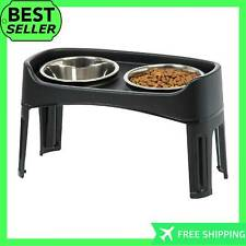 New Large Raised Elevated Dog Feeder Pet Stainless Steel Bowls Sturdy Plastic