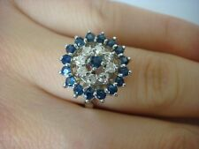 VINTAGE, 1 CT T.W. GENUINE SAPPHIRES AND DIAMONDS COCKTAIL RING 3.9 GRAMS SIZE 6