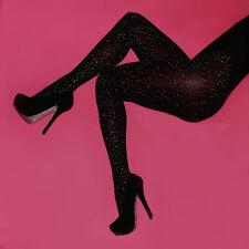 Damen elastisch Mode Kristall Strass Fischnetz Strümpfe Strumpfhose Strumpfband
