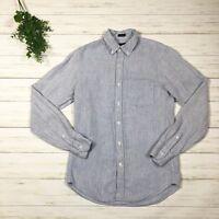 J. Crew Men's Slim Irish Linen Shirt in Thin Stripe sz XS #A1686 blue white