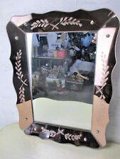 Small Romantic Mirror Pink Edges Clear Venetian Ornate Glass Art Nouveau