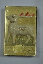 Vintage 3D Christmas Reindeer Match Box~Old Holiday Matches~Gold and Glittery!
