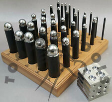 """36 x DAPPING STEEL PUNCH SET + 2"""" STEEL 2 IN 1 BLOCK JEWELLRY MAKING SHAPING"""