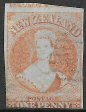NEW ZEALAND 1855 1d red/blued paper imperf, VFU/fault. SG 4. Cat.£2000.