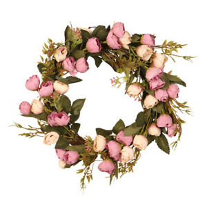 Artificial Rose Garland Leaves Wreath Rattan Wall Front Door Home Party Decor