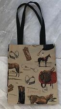 NEW English Horse Tapestry Shopping Tote Handbag Jump Off Saddle & Boots