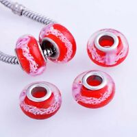 5* Charm Red Lampwork Murano Glass Silver Plated European Beads Fit DIY Bracelet