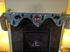 Wool Blend Fireplace Mantle Mantel Scarf Cover Woodland Forest Animals Cottage