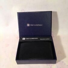 UMO LORENZO ITALY Black Leather Trifold Wallet NEW in BOX (great holiday gift)