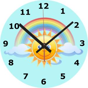WALL CLOCK RAINBOW 25cm Sun Sunny Child Children Bedroom Nursery Home diy 744