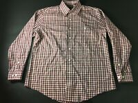 Orvis Mens Colorful Plaid Front Pocket Button Front Shirt Size Large Trim Fit