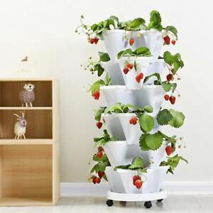 Vertical Stackable Strawberry Herb Garden Planter Flower Veg Pots DIY New