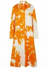 Dries Van Noten Riguel Orange Floral Printed Cotton Twill coat, Sz M New $1,550