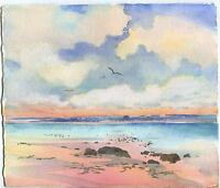 VINTAGE SUNRISE SUNSET SEA SHORE OCEAN BEACH YORK MAINE LISTED ARTIST PAINTING