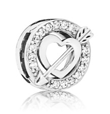 925 Silver ASYMMETRIC HEART AND ARROW CZ CLIP CHARM Fits Reflexions bracelets