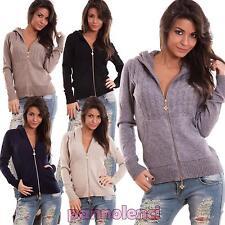 Cardigan donna maglione pull zip cappuccio imbottito giacchetto nuovo R3132