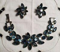 Vintage Jewelry Bracelet Earrings Set Blue Rhinestone Flower Designer Style