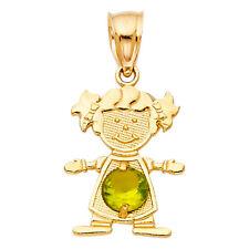 14k Yellow Gold Peridot August Birthstone Girl SMALL Charm Pendant Free Chain