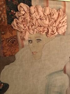 Ron Fritts Silk Fabric Portrait of a Woman Painting Quilted Trapunto