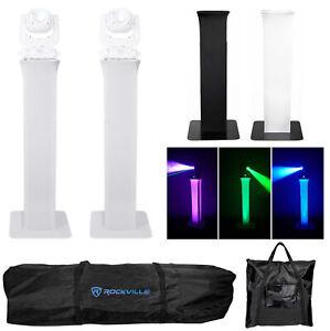 (2) Rockville RTP82W Adjustable White Totem Moving Head Light Stands+Scrims+Bags