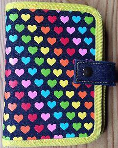 Denim Rainbow Heart Planner Yellow Red Blue Green Orange Pink Pocket Size